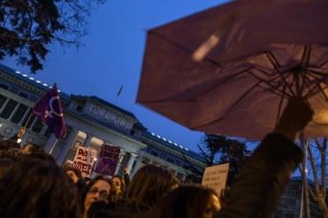 Pancarta de Mujeres Audiovisuales en la manifestación feminista (8.03.2018)