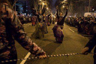 Actuación de un grupo de bailarinas en la manifestación feminista (8.03.2018)