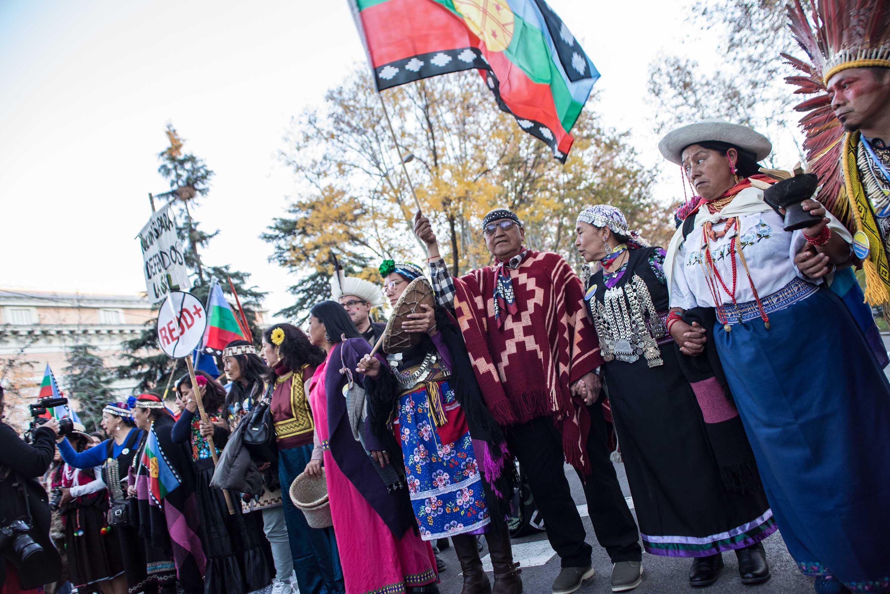 Representantes de la Minga Indígena durante la manifestación por el clima del 6D